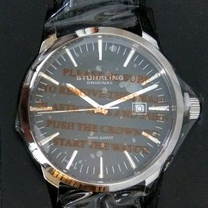 NWT Men's Stuhrling Ascot Watch Leather Strap